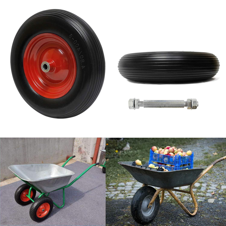 1 pcs Ruote in gomma piena ruote carriola ruote carrello ruote antiforatura 390 mm max carico 120 kg Miafamily PU Ruota 4.00-8 PU