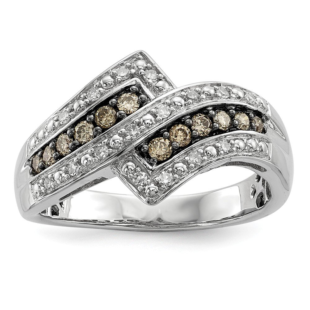 Size 7 Solid 925 Sterling Silver Champagne Diamond Fancy Two Lined Ring (3mm) (1/3ct.)