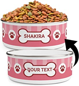 Personalized Dog Bowls (40oz) for Food or Water - Add Your Pet's Name - Custom Stainless Steel Enamel Dog Bowl with Lid & Anti-Slip Backing