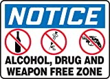NOTICE ALCOHOL, DRUG AND WEAPON FREE ZONE