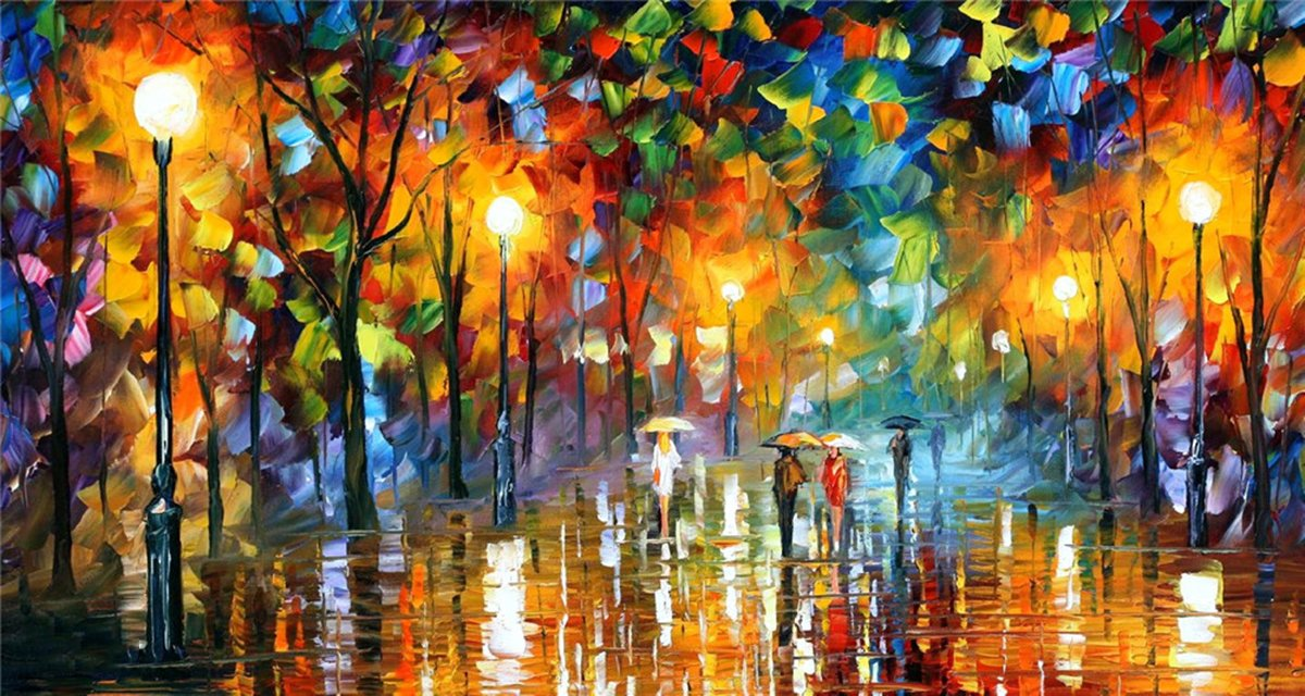100% Hand Painted Oil Paintings Modern Abstract Oil Painting on Canvas Rainy Night Home Wall Decor (36X65 Inch, Oil Painting 4) by Bingo Arts