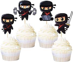 Ercadio 24 Pack Modern Ninja Cupcake Toppers Assambled Karate Kung Fu Warriors Cupcake Picks Baby Shower Kids Boys Ninjas Themed Birthday Party Cake Decorations Supplies