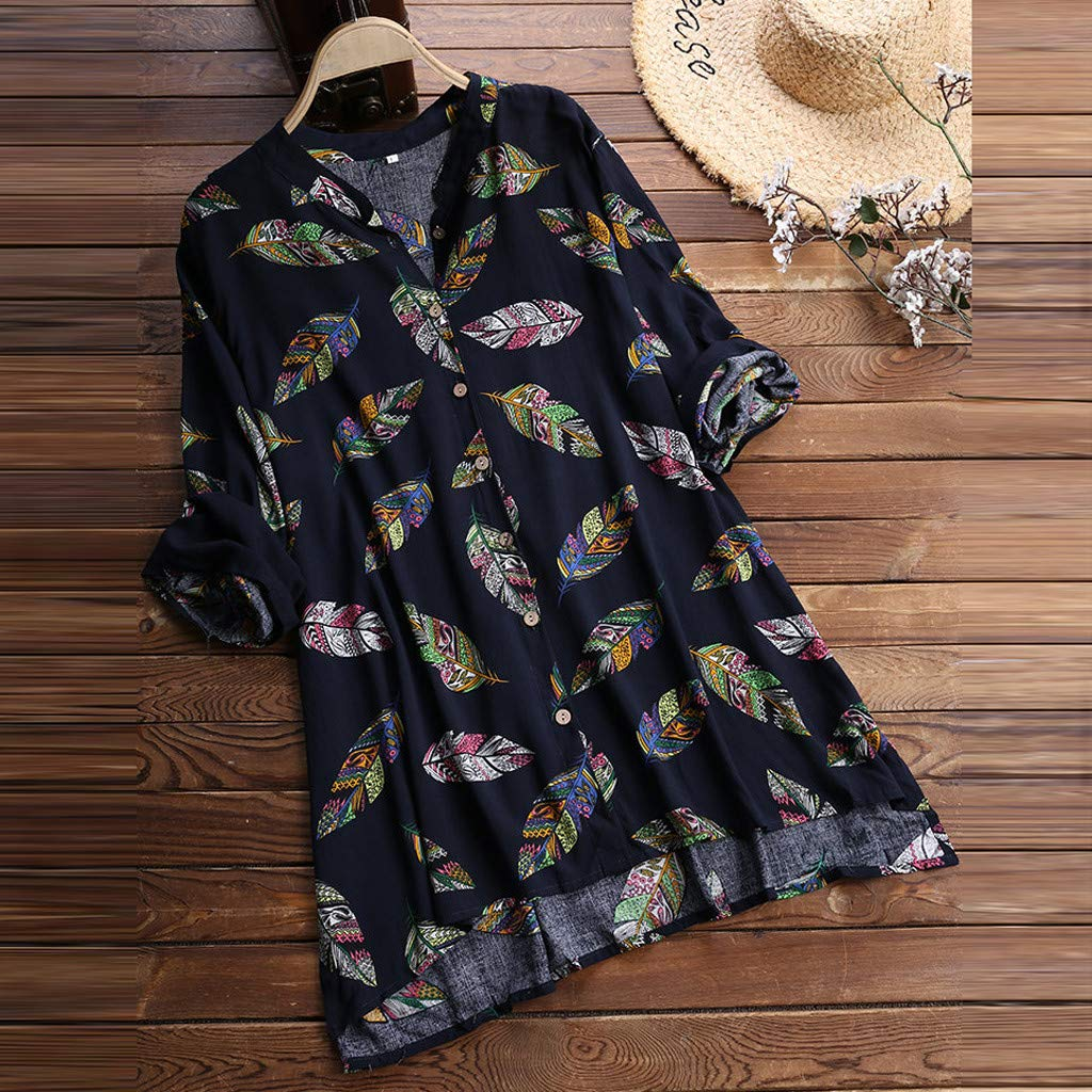 Mini Dress for Women Long Sleeve Notch Neck Beach Leaves Printed Button Down Straight Sundress with Side Split