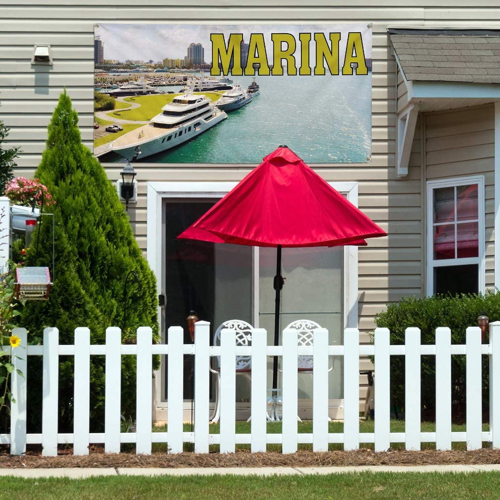 44inx110in 8 Grommets Multiple Sizes Available One Banner Vinyl Banner Sign Marina Business Marina Outdoor Marketing Advertising White