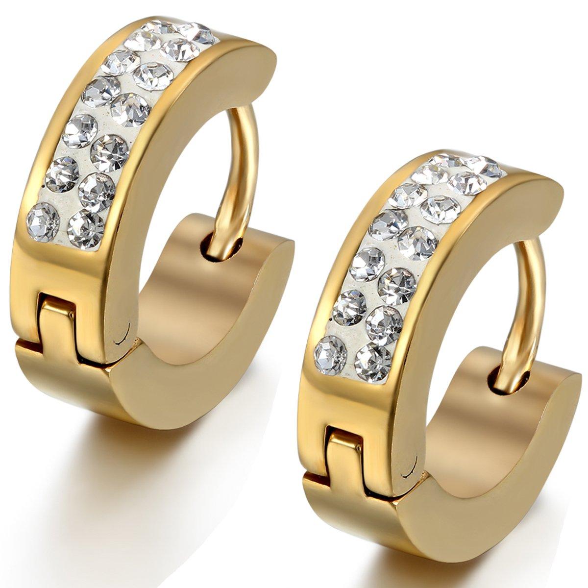 Flongo Men's Womens 4mm Wide Stainless Steel CZ Stud Hoop Huggie Earrings Charm Elegant FLG04421