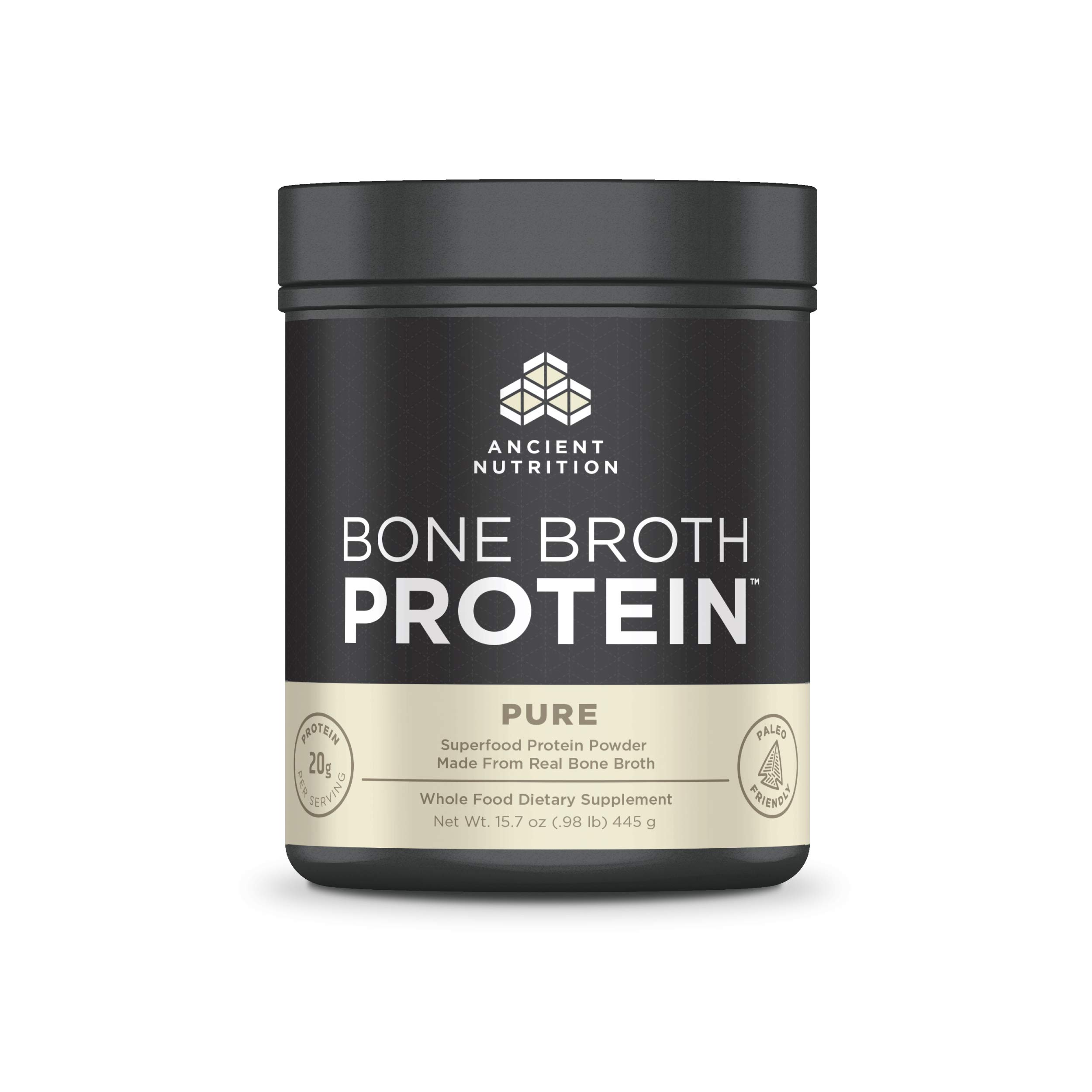 Ancient Nutrition Bone Broth Protein, Pure - Dairy Free, Gluten Free and Paleo Friendly, 20 Servings