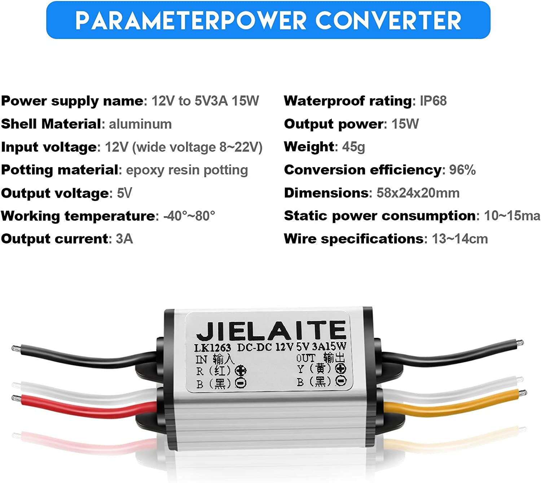2 Pieces Car Power Converter Waterproof 12V to DC 5V Buck Voltage Regulators 3A 15W Voltage Converter Module for Car Truck Boat Solar System Accept DC 8V - 22V Inputs