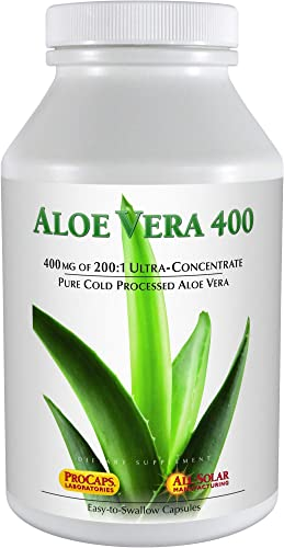 Andrew Lessman Aloe Vera 400-30 Capsules Provides 200 1 Ultra-Concentrate of Aloe Vera, Soothing Support for Stomach and Digestive System, No Additives, Small Easy to Swallow Capsules