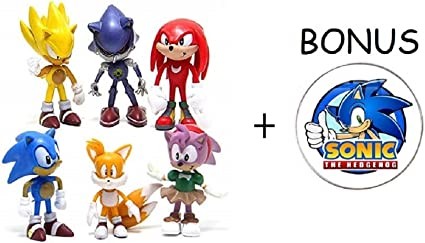 Amazon Com Sonic The Hedgehog Action Figures 6 Pack Collectible Figures With Sonic Brooch Highly Detailed Design For Kids And Collectors Includes Sonic Tails Knuckles Metal Sonic Amy Rose Super Sonic