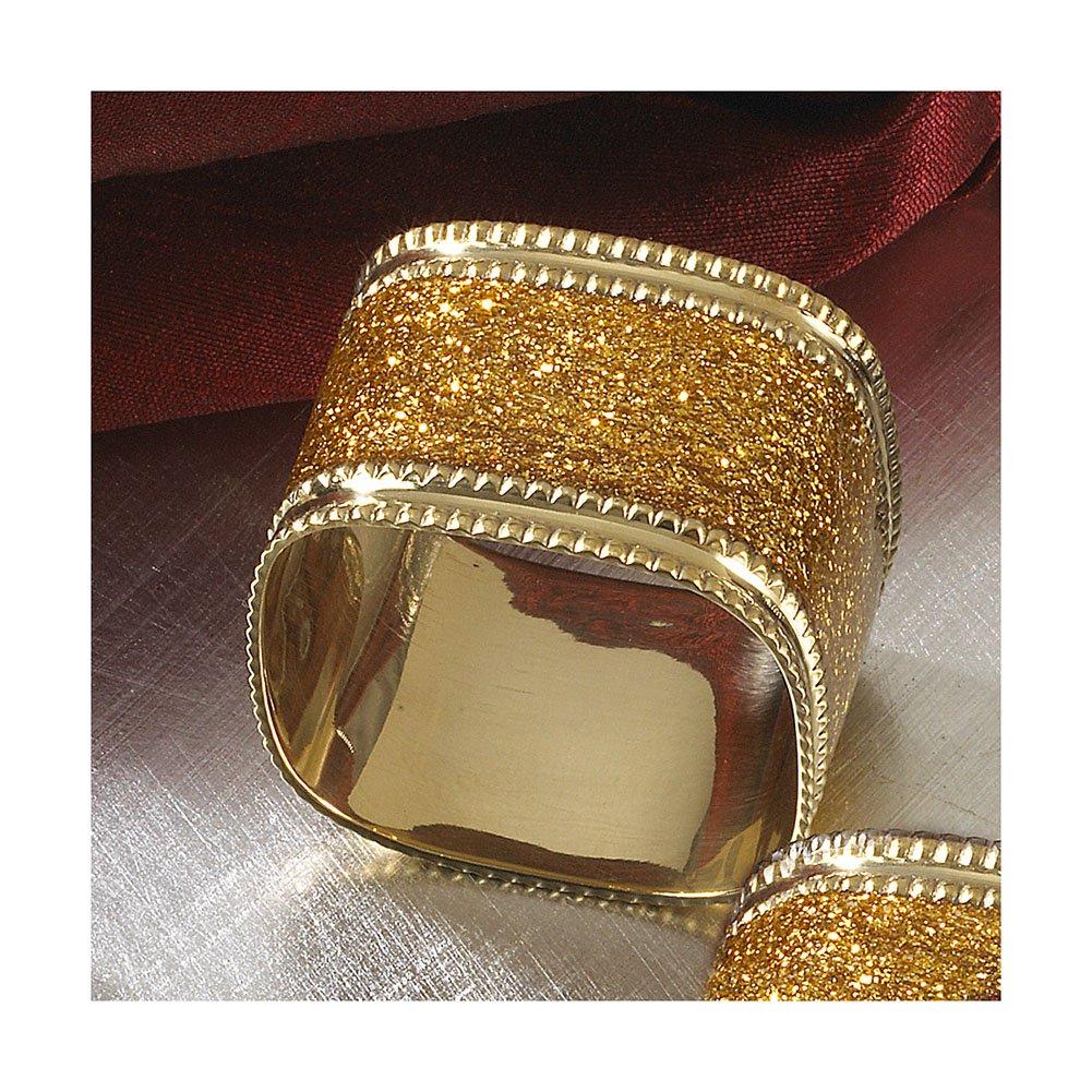 Gold Napkin Ring, Sparkling Square Design, 4 Piece Set   B00SDW811W