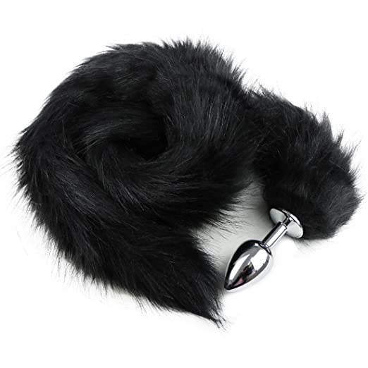 16ae18af8 YiZYiF Stainless Steel Faux Fox Tail Funny Sex Toy Adult Romance Games Black