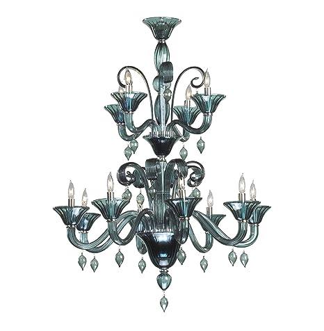 Amazon.com: Treviso 3 luz azul oscuro humo estilo lámpara de ...