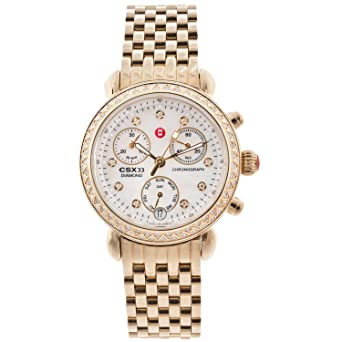 79a7806fc Image Unavailable. Image not available for. Color: Michele Womens CSX  Diamond Bezel Gold Tone Chronograph Watch