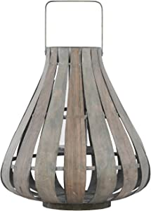 Urban Trends 41078 Bamboo Round Lantern with Handle & Flared Bottom/Hurricane Glass Candle Holder Small Natural Wood Finish, Beige