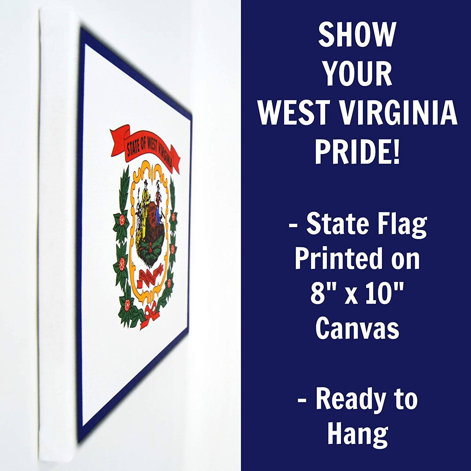 Amazon Com West Virginia Flag Wall Decor 8x10 Decorative Wv Canvas Wall Art Prints Ready To Hang West Virginia Decor Home State Pride Collection Wva Gifts And Decorations Handmade