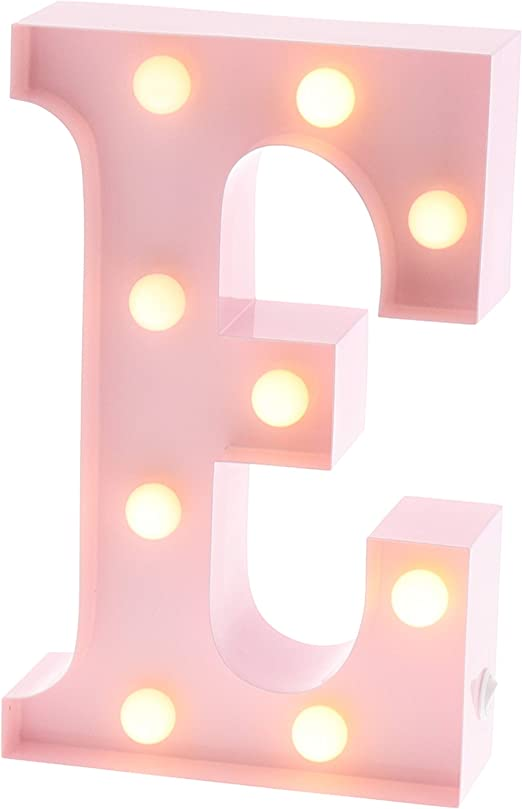 """Barnyard Designs Metal Marquee Letter E Light Up Wall Initial Nursery Letter, Home and Event Decoration 9"""" (Baby Pink)"""