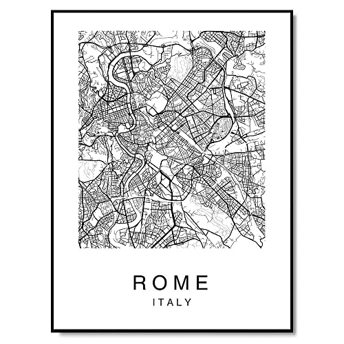 Black And White Map Of Italy.Amazon Com Rome Map Poster Italy Print Modern Black And White Wall