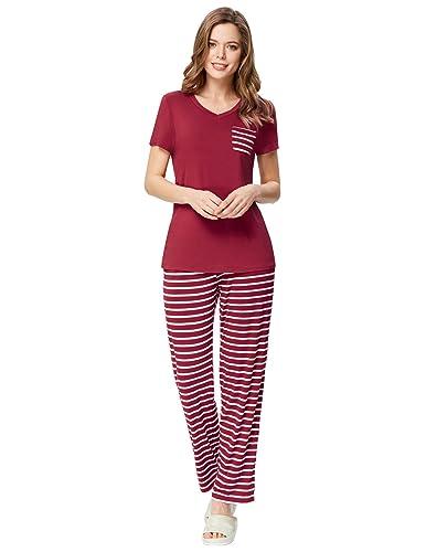 Zexxxy Womens Pyjama Set Striped Short Sleeve Top & Pants Sleepwear PJS