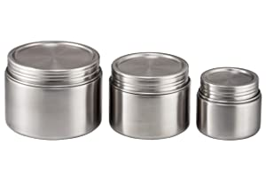 Stainless Steel Food Storage Containers - Set of 3 (8 oz, 16 oz, 24 oz) - Airtight, Leak-Proof Food Jar for Baby Food, Lunch, Yogurt, Snacks, and Sides - Eco-Friendly, Dishwasher Safe