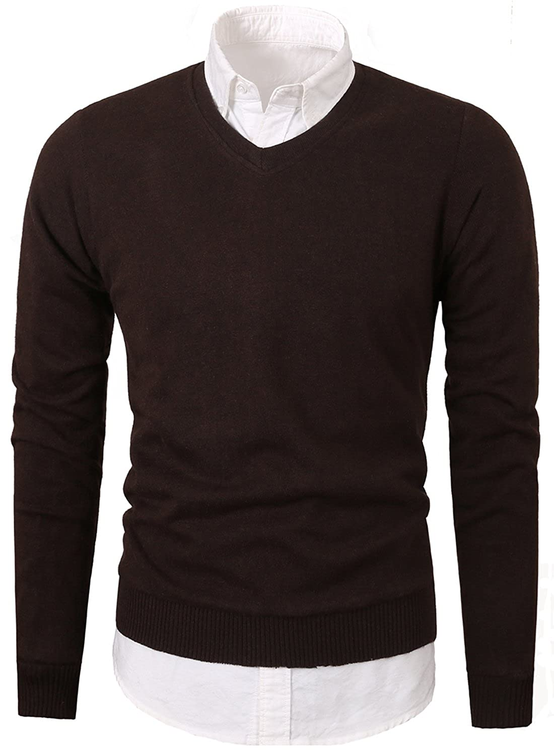 Mesahara Mens Casual Slim Fit Knit V-Neck Pullover Sweater