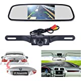 "Backup Camera and Monitor Kit, 4.3"" Car Vehicle Rearview Mirror Monitor for DVD/VCR/Car Reverse Camera + CMOS Rear-view License Plate Car Rear Backup Parking Camera With 7 LED Night Vision"