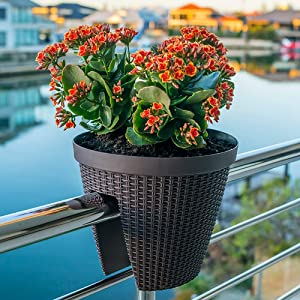 "Balcony Deck Rail Planter 12"" Perfect for Flower, Plant, Greens, herb or Succulent Garden on Your Outdoor Porch or Patio Railing."