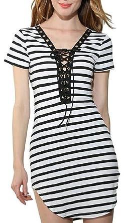 Hokny TD Women s Sexy Short Sleeve Lace up Deep V Neck Striped Side Slit  Bodycon Mini Dress at Amazon Women s Clothing store  2ad6873e9
