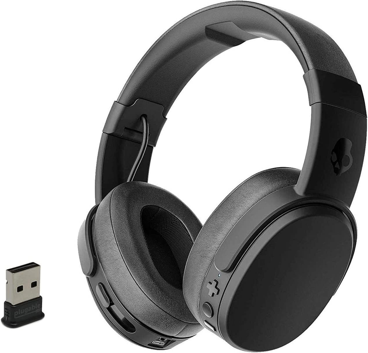 Skullcandy Crusher Foldable Noise Isolating Over-Ear Wireless Bluetooth Immersive Headphone Bundle with Plugable USB 2.0 Bluetooth Adapter - Black/Coral