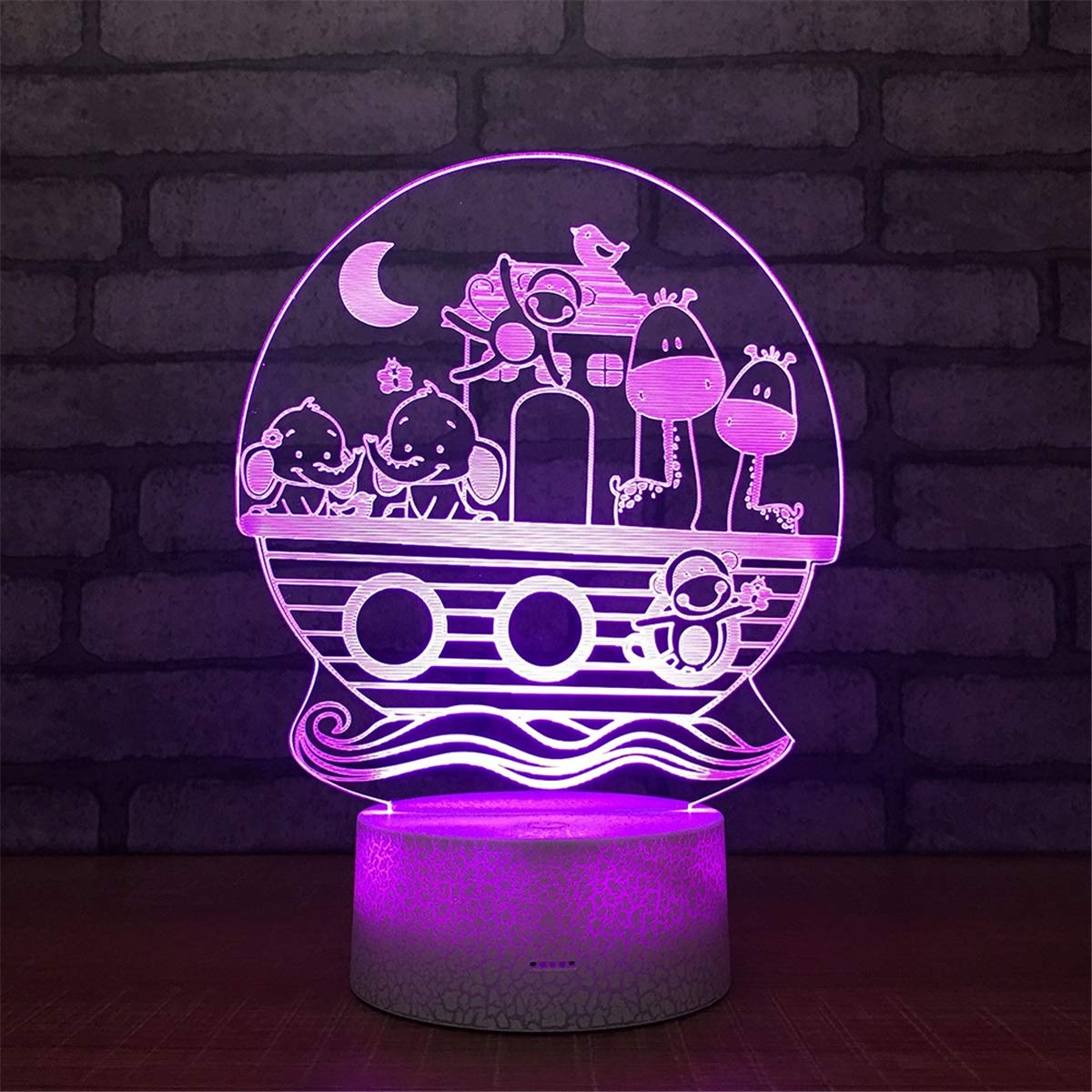 USB Powered Stunning Animal 7 Colors Optical Illusion Night Light Crackle Paint Base Touch Table Desk Lamps 3D Glow LED Lamp Art Sculpture Lights Toy for Kids Gifts