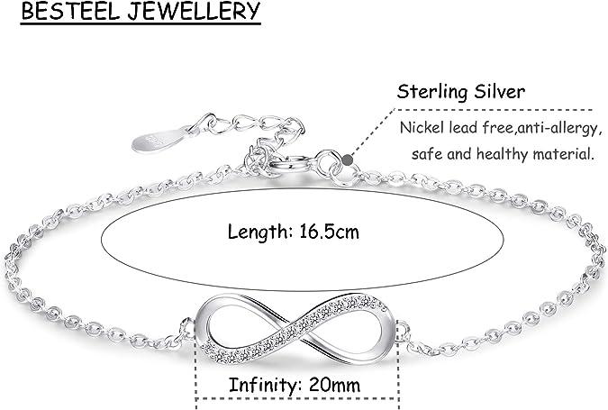 BESTEEL 925 Argent Bracelet Infini pour Femmes Filles Amour Bracelet Cheville Cha/îne avec Zircon Cubique Cadeau Anniversaire