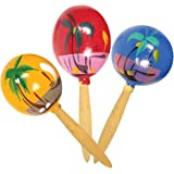 "8"" Inch Genuine Wooden Hand Painted Party Fiesta Maracas (12 Pairs - 24 Pieces Per Pack)"
