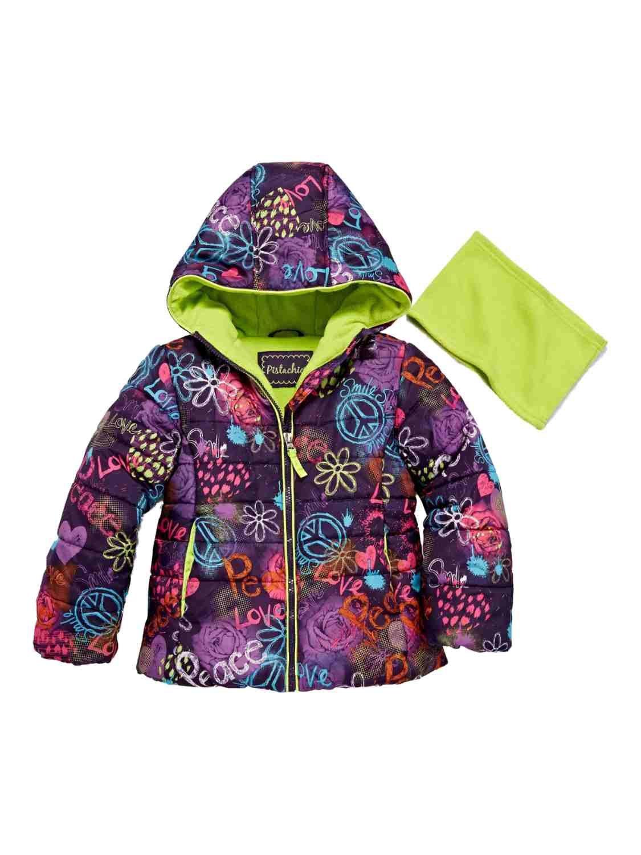 Asstd National Brand Pistachio Toddler Little Girls Graffiti Peace Love Smile Puffer Jacket Scarf 2T