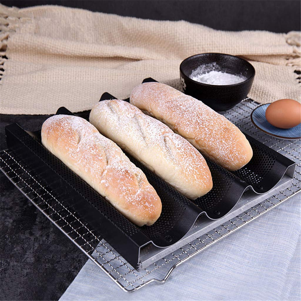 Non-Stick Coating Bread Baking Tray, Sttech1 Baguette Pan for French Bread Baking 3 Wave Loaves Loaf Bake Mold Toast Cooking Bakers Molding 3 Gutter Oven Toaster Pan