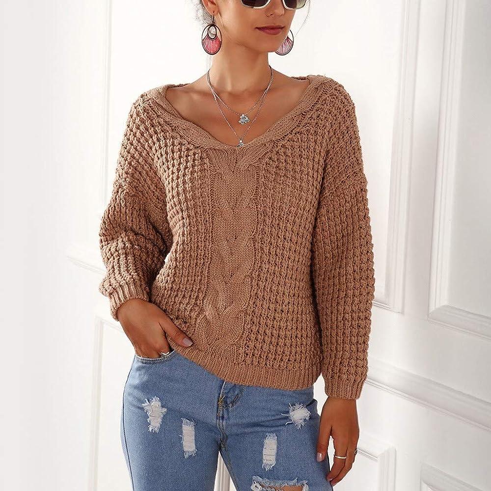 Jerseys Mujer Camisas de Moda Mujer Ocio otoño Color Puro Top Manga Larga suéter Blusa con Cuello en V Blusas Suelto Camisa de poliéster Casual Elegante Sexy Suéter de Punto LiNaoNa: Amazon.es: