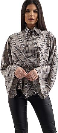Verso Fashion - Camisas - Cuadros - Cuello Mao - para Mujer: Amazon.es: Ropa y accesorios