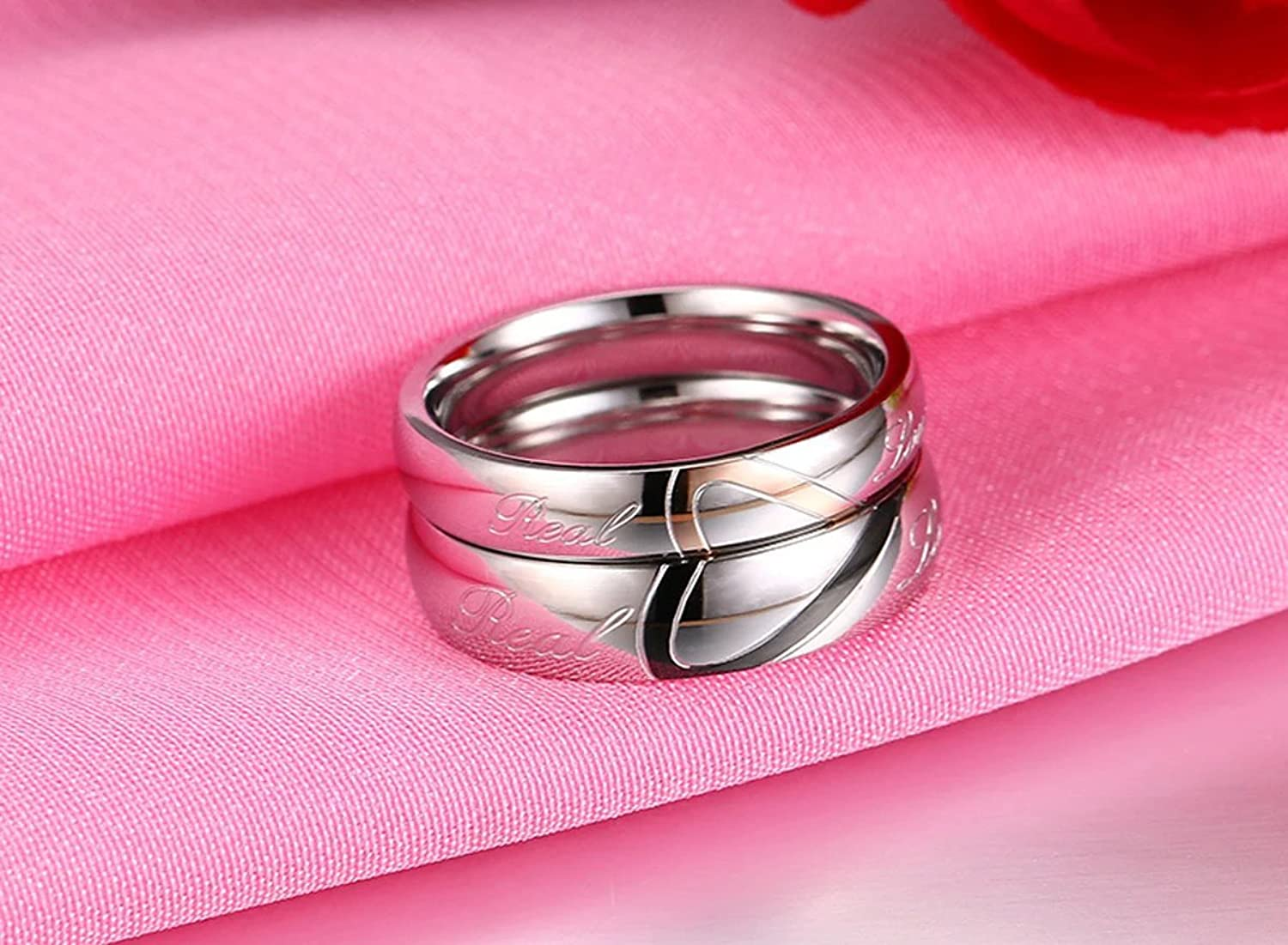 Amazon.com: DIB Stainless Steel His and Hers Heart Shaped Promise ...
