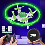 Dwi Dowellin Mini Drone for Kids with LED Lights Crash Proof One Key Take Off Landing Spin Flips RC Flying Toys Drones…