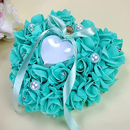 ac7af65af8 Amazon.com: Zehui Hanging Rose Bridal Ring Pillow Rhinestone Heart Shaped  Gift Ring Box for Wedding Favor Decoration Tiffany Blue: Home & Kitchen