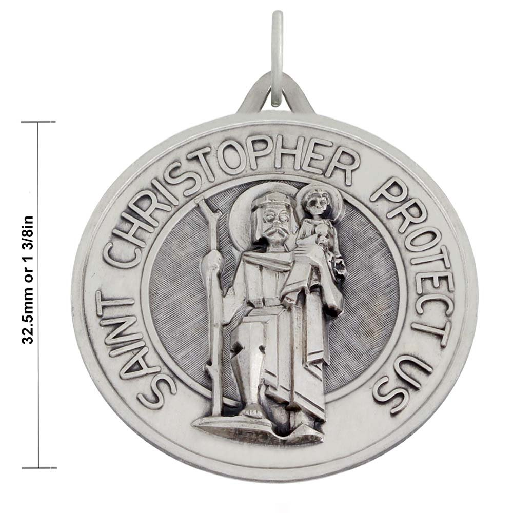 1 3/8in Round 0.925 Sterling Silver St Saint Christopher Medal Pendant 3.0mm Figaro Necklace, 18'' by US Jewels And Gems (Image #2)
