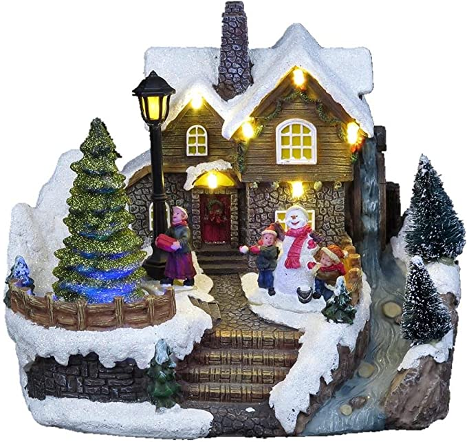 Forart 10pcs Resin Christmas Scene Village Houses Town With Led Light Battery Operate Christmas Ornaments Christmas Cabin Tiny Scene Snow Village Collections Houses Set Home Kitchen Kolenik Seasonal Décor