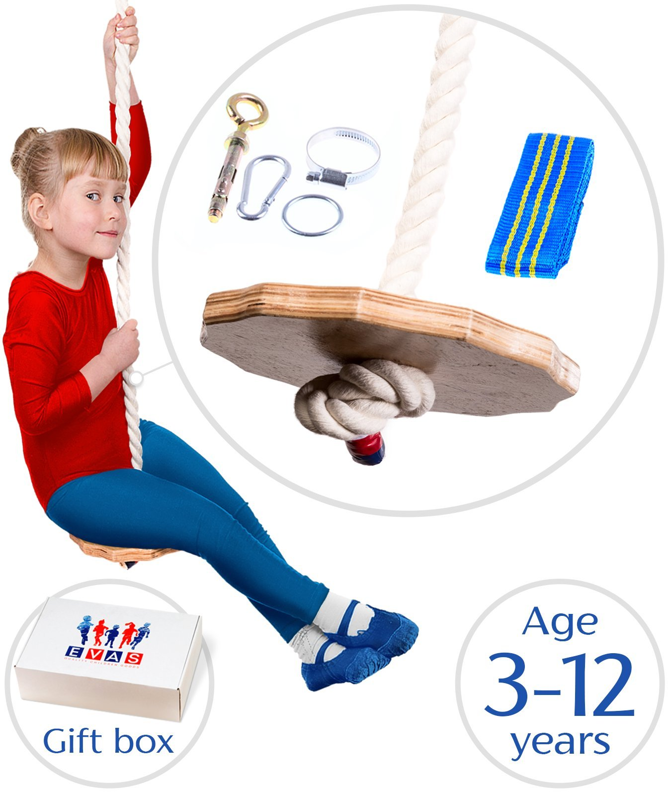Swing for boys and girls - Tree backyard playground kids swing- Indoor Outdoor childrens swing - climbing rope with a round wooden disk seat for kids - Organic made from wood and 100% cotton