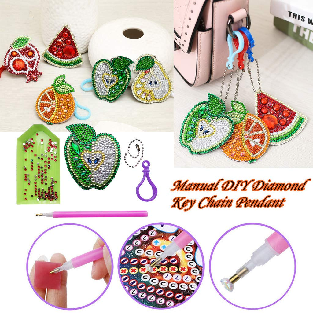 Cross Stitch Kimanli 5 Pcs 5D Cartoon Keyrings Diamond Painting DIY Painting Full Diamond Drill Needlework Cross Stitch