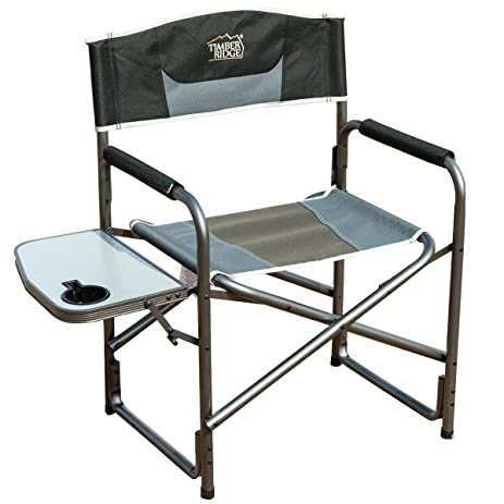 Timber Ridge Aluminum Portable Directoru0027s Folding Chair With Side Table  Supports 300lbs