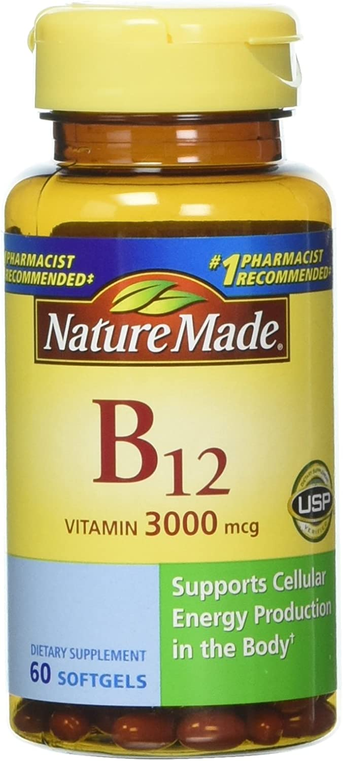 Nature Made Vitamin B-12 Softgels, 3000 Mcg, 60 Count Pack of 3