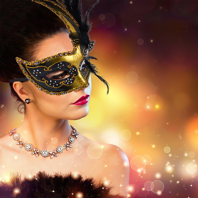 Amazon.com: Venetian Masquerade Masks Mardi Gras Costume with ...