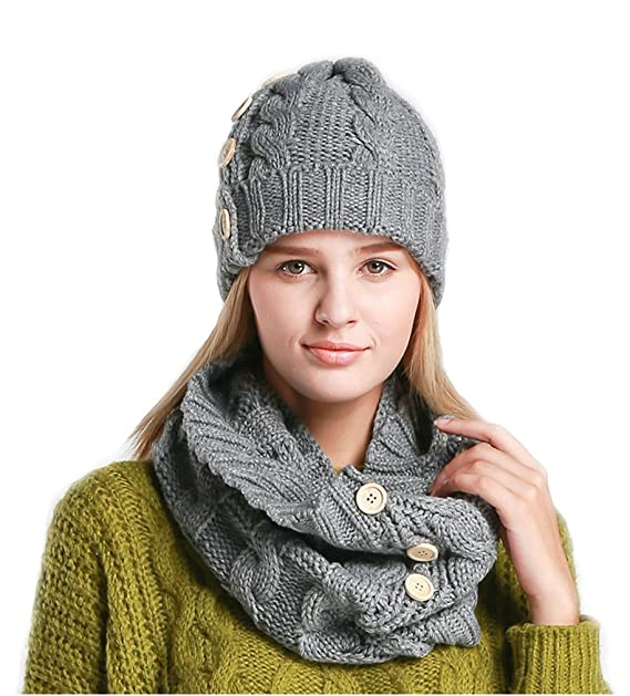 Orolay Women s Ladies Winter Warm Caps Thick Twist Knitting Crochet Hat Scarf  Set Grey 320fd843942