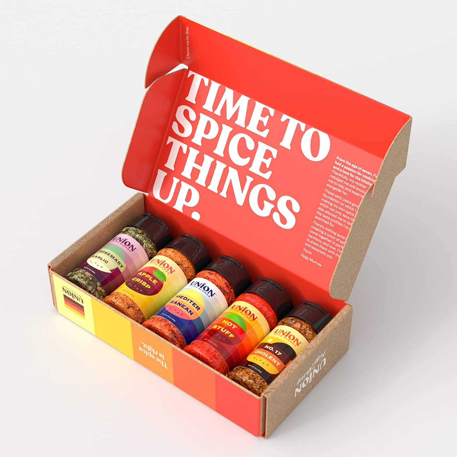 Union Spice Blends Variety Pack of Five Different Spices, Gluten Free, Non GMO, Nut Free, Kosher, 3 oz. (Gift Set)
