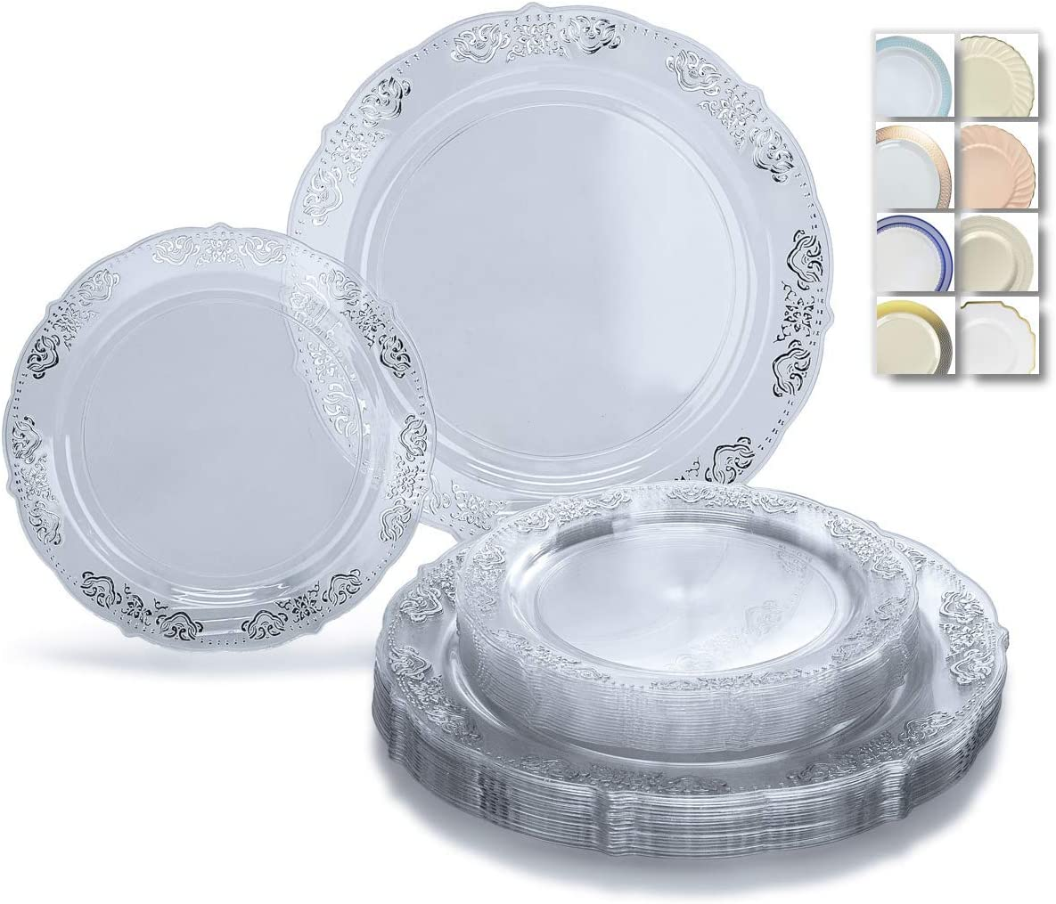 OCCASIONS 240 Plates Pack,(120 Guests) Vintage Wedding Party Disposable Plastic Plates Set -120 x 10.25'' Dinner + 120 x 7.5'' Salad/Dessert Plate (Portofino Clear/Silver) 712BiL-ghFaL