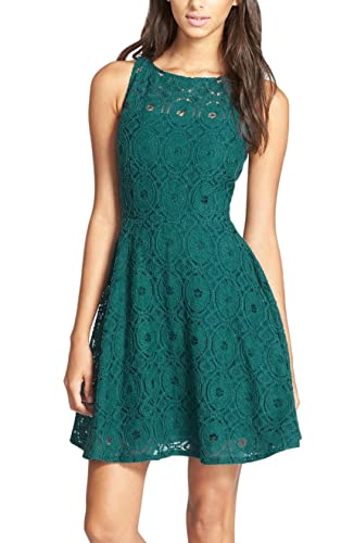 Nemidor Women's Sleeveless Fit and Flare Full Lace Cocktail Dress
