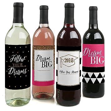 Dream Big - graduación para botella de vino etiquetas - Juego de 4: Amazon.es: Hogar